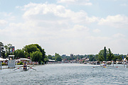"Henley on Thames, United Kingdom, 3rd July 2018, Sunday,  ""Henley Royal Regatta"", The Diamond Challenge Sculls, Finalists, (Left) Mahe DRYSDALE NZL M1X,  (Right) Kjetil BORCH NOR M1X,passing Remenham Club,    View, Henley Reach, River Thames, Thames Valley, England, UK."
