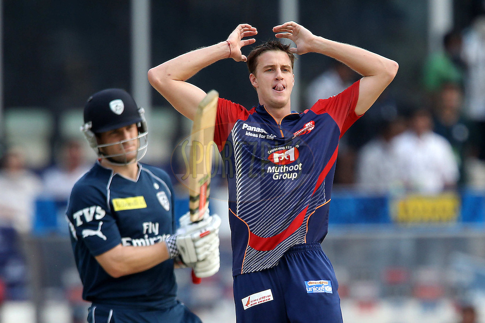 Morne Morkel raects as the ball runs for four from Daniel Harris during match 55 of the the Indian Premier League ( IPL) 2012  between The Deccan Chargers and the Delhi Daredevils held at the Rajiv Gandhi Cricket Stadium, Hyderabad on the 10th May 2012..Photo by Ron Gaunt/IPL/SPORTZPICS