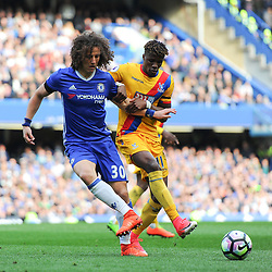 David Luiz of Chelsea and Wilfried Zaha of Crystal Palace during Chelsea vs Crystal Palace, Premier League , 01.04.17 (c) Harriet Lander | SportPix.org.uk