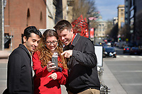 PRTM students check out a selfie while visiting downtown Raleigh.