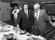 """""""The National Fish Cookery Award""""..29.04.1982..04.29.1982.29th April 1982.1982...This competition sponsored by Bord Iascaigh Mhara was held in The Clare Inn, Newmarket-on Fergus,Co Clare. the competition was open to schools across the country.. The Minister for Fisheries and Forestry, Mr Brendan Daly and Mr T F Geoghegan, Market Development Manager, Bord Iascaigh Mhara, view the entries."""