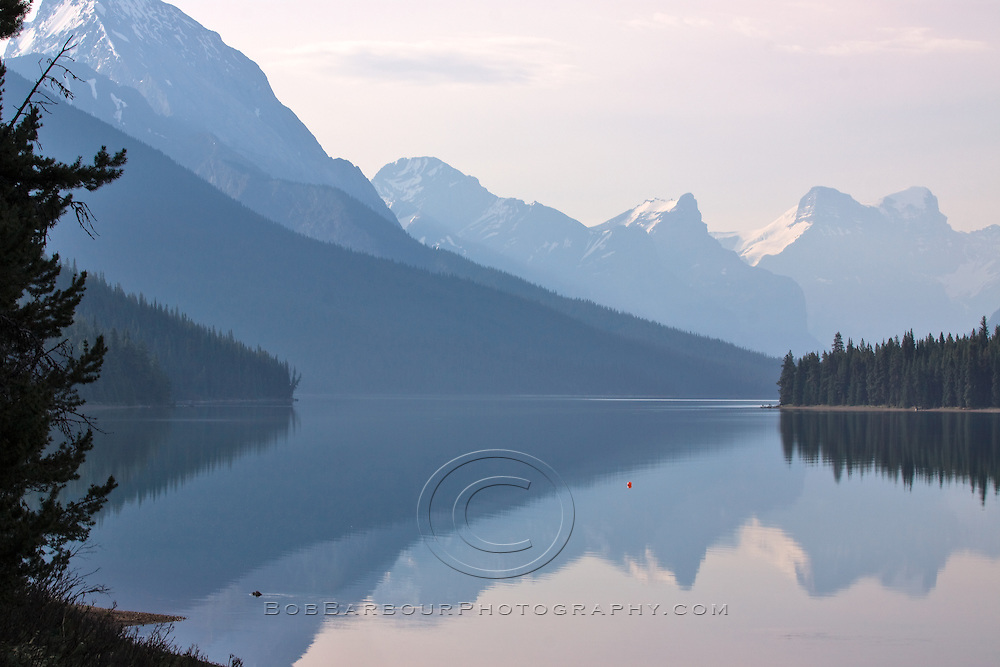 Reflection on Maligne Lake Jasper National Park Alberta, Canada