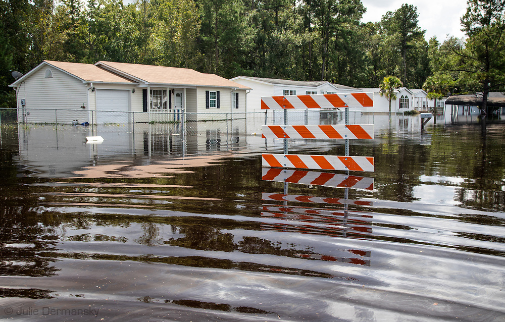 Flooded mobile homes in Bucksport, South Carolina following Hurricane Florence.
