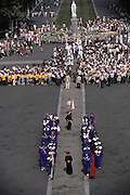 Lourdes is a world pilgrimage center for Catholic faith healing. It has 5 million visitors per year. Lourdes, France.