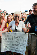 A fan's message for Jason Mraz at the New Orleans Jazz and Heritage Festival in New Orleans, Louisiana, April 30, 2011.