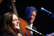Madeleine Peyroux performing with Jon Herington (guitar) and Barak Mori (bass) at SOPAC in South Orange, NJ.