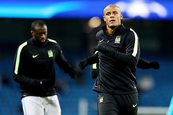 Vincent Kompany of Manchester City warms up - Mandatory byline: Matt McNulty/JMP - 15/03/2016 - FOOTBALL - Etihad Stadium - Manchester, England - Manchester City v Dynamo Kyiv - Champions League - Round of 16
