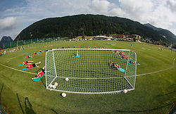 """24.07.2015, Sportplatz, Walchsee, AUT, Trainingslager, FC Augsburg, im Bild Trainingsplatz, Trainingslager in Walchsee, insgesamt eine runde Sache, im Hintergrund das Mannschaftshotel """"Seehof"""" // during the Trainingscamp of German Bundesliga Club FC Augsburg at the Sportplatz in Walchsee, Austria on 2015/07/24. EXPA Pictures © 2015, PhotoCredit: EXPA/ Eibner-Pressefoto/ Krieger<br /> <br /> *****ATTENTION - OUT of GER*****"""