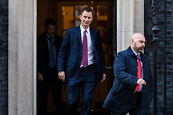 © Licensed to London News Pictures. 02/04/2019. London, UK. Foreign Secretary Jeremy Hunt leaves 10 Downing Street after Prime Minister Theresa May delivered a statement announcing that she will seek a further extension of Article 50. Photo credit: Rob Pinney/LNP