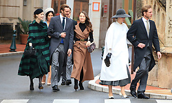 Louis Ducret, Marie Chevallier, Beatrice Borromeo, Pierre Casiraghi, Princess Alexandra of Hanover Tatiana Santo Domingo and Andrea Casiraghi. The royal family of Monaco going to the St. Nicholas Cathedral for the beginning of the National Day festivities on November 19th 2019.