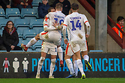 Goal Luton Town celebrate as Luton Town midfielder Andrew Shinnie scores a goal 0-1 during the EFL Sky Bet League 1 match between Scunthorpe United and Luton Town at Glanford Park, Scunthorpe, England on 26 December 2018.