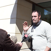 Queenstown bouncer Jonathan Dixon at Queenstown District Court today (Monday) where he pleaded not guilty for the theft of CCTV footage of English rugby player Mike Tindall's night out at the Altitude Bar in Queenstown, New Zealand. 3rd October 2011. Photo Tim Clayton...