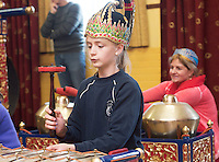 repro free: Galway Gamelan Experience at the Rowning Club where Linda Kovalenko  from Scoil Leanbh Iosa where they experienced the musical magic of the Gamelan- a traditional Indonesian orchestral Instrument an deere joined by  Cllr Frank Fahy Mayor of Galway City.  <br />  Photo:Andrew Downes, xposure