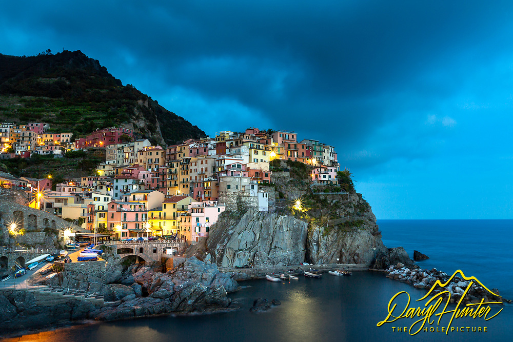 Blue hour at the Cinque Terre village of Manarola on the Italian Riviera.