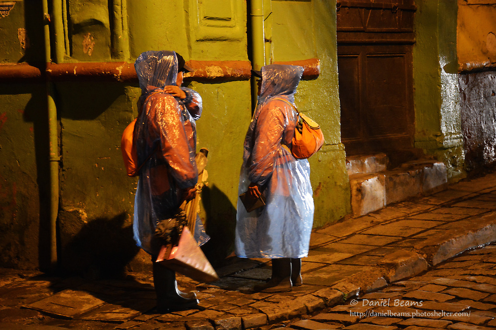 Night street scene in La Paz, Bolivia