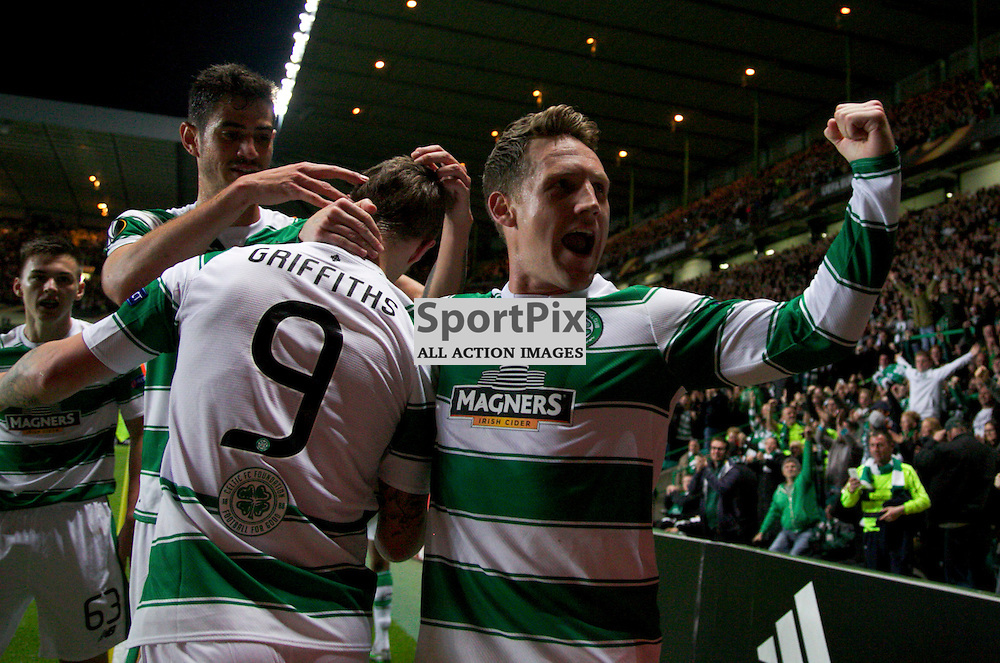 CelticÕs Leigh Griffiths celebrates with Kris Commons after  opening the scoring during the Glasgow Celtic FC v Fenerbahe S.K Europa League Group A 1st October 2015 ©Edward Linton | SportPix.org.uk