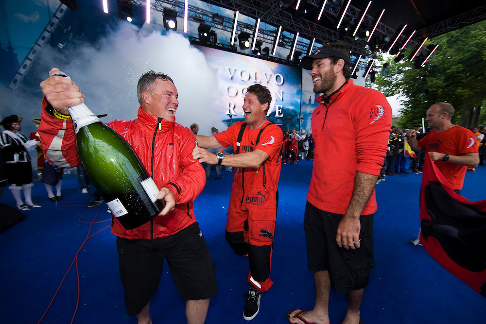 EDITORIAL USE only, please credit Sally Collison/PUMA Ocean Racing.27JUN09 The prize giving for the finish of Leg 10 of the Volvo Ocean Race. PUMA crossed the line in second place. Erle Williams, Jerry Kirby and Shannon Falcone.