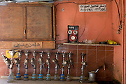 Hookahs (shisha) are kept on the table top of an street cafe in Kharga Oasis in the Western Desert, Egypt.