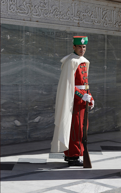 Guard in winter uniform standing outside the Mausoleum, rifle at rest.  Red uniform, green hat, white cape.  He looks sternly at the camera.