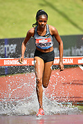 Beatrice Chepkoech (KEN) on her way to winning the women's 3000m steeplechase in a Meeting Best time of 9.05.55 during the Birmingham Grand Prix, Sunday, Aug 18, 2019, in Birmingham, United Kingdom. (Steve Flynn/Image of Sport)