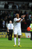 Swansea city's Ashley Williams .Pre-season friendly match, Swansea city v Blackpool at the Liberty Stadium in Swansea, South Wales on Tuesday 7th August 2012. pic by Andrew Orchard, Andrew Orchard sports photography,