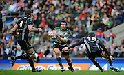Twickenham, GREAT BRITAIN,   Leicester Tigers' Aaron MAUGER,  confronted by left Ian EVANS and James HOOK, during the EDF Energy Cup Final rugby match,  Leicester Tiger vs Ospreys, at Twickenham Stadium, Surrey on Sat 12.04.2008 [Photo, Peter Spurrier/Intersport-images]