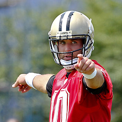 June 5, 2012; Metairie, LA, USA; New Orleans Saints quarterback Chase Daniel (10) during a minicamp session at the team's practice facility. Mandatory Credit: Derick E. Hingle-US PRESSWIRE
