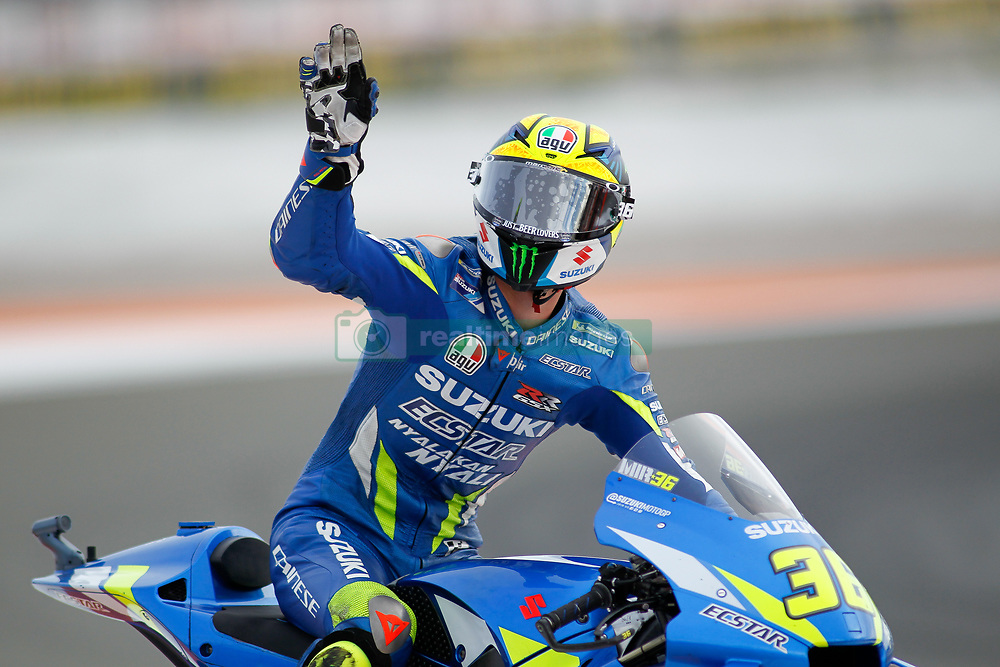 November 17, 2019, Cheste, VALENCIA, SPAIN: Joan Mir, rider of Team SUZUKI ECSTAR from Spain, saludates during the MotoGP Race of the Valencia Grand Prix of MotoGP World Championship celebrated at Circuit Ricardo Tormo on November 16, 2019, in Cheste, Spain. (Credit Image: © AFP7 via ZUMA Wire)
