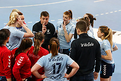 Sebastjan Oblak, head coach of ZRK Z Dezele talking to players during handball match between RK Ljubljana and ZRK Z Dezele in Bronze Medal game of Slovenian Women Handball Cup 2017/18, on April 1, 2018 in Park Kodeljevo, Ljubljana, Slovenia. Photo by Matic Klansek Velej / Sportida