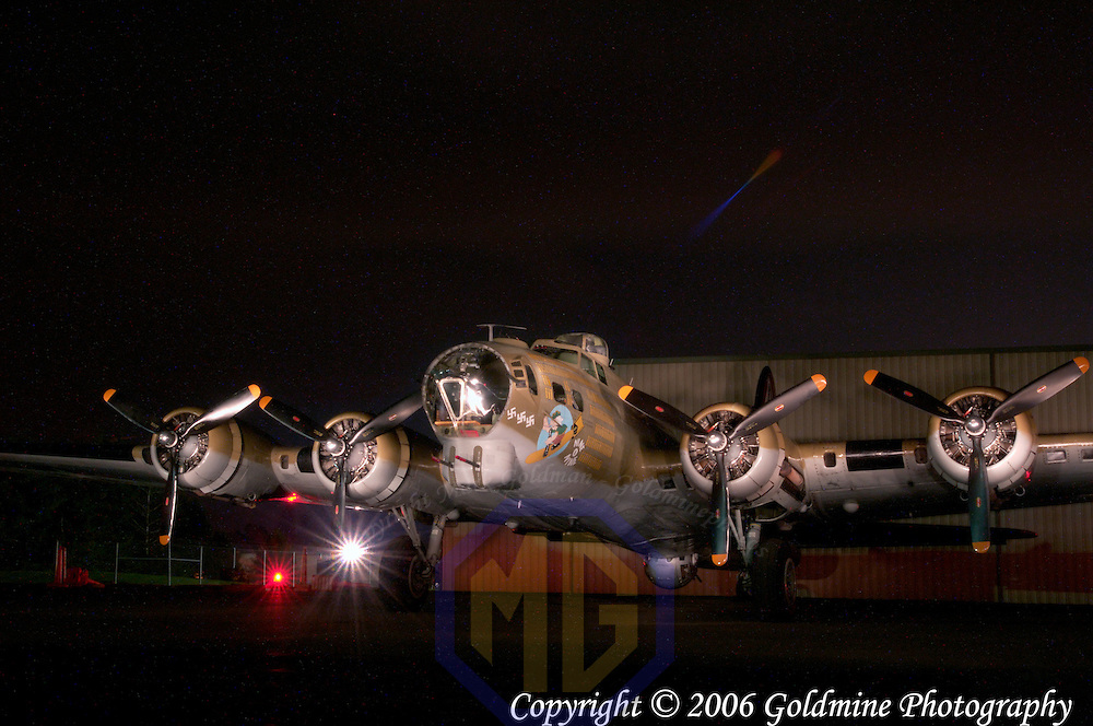 A restored and flying B-17 World War II bomber in a light painting in Westminster, MD. This plane is one of only fourteen B-17s still flying in the United States and is maintained by the Collings Foundation.  Exposure was 4 minutes