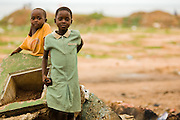 Two young girls in Accra, Ghana on Tuesday June 16, 2009.