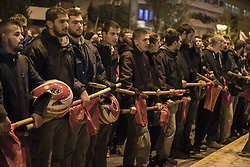November 17, 2018 - Athens, Greece - Leftists and anarchists march shouting slogans against state repression and commemorate the 1973 Athens Polytechnic Uprising. Thousands took to the streets marking the 45th anniversary of the Athens Polytechnic Uprising against the colonels' military junta that lasted from 1967 to 1974. (Credit Image: © Nikolas Georgiou/ZUMA Wire)
