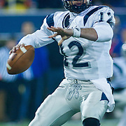 New Hampshire QB (#12) R.J. Toman pass to Mason for 7 yards to the UNH 35. No. 5 Delaware defeats No.11 New Hampshire 16-3 on a brisk Friday night at Delaware stadium in Newark Delaware...Delaware will host the Division I FCS Championship Semifinals Round next weekend.