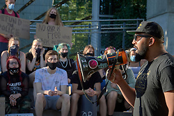 Isiah Wagoner speaks at a June 3, 2020, Black Lives Matter protest in Eugene, Oregon. Participants were protesting the murder of George Floyd and other African-Americans by police.