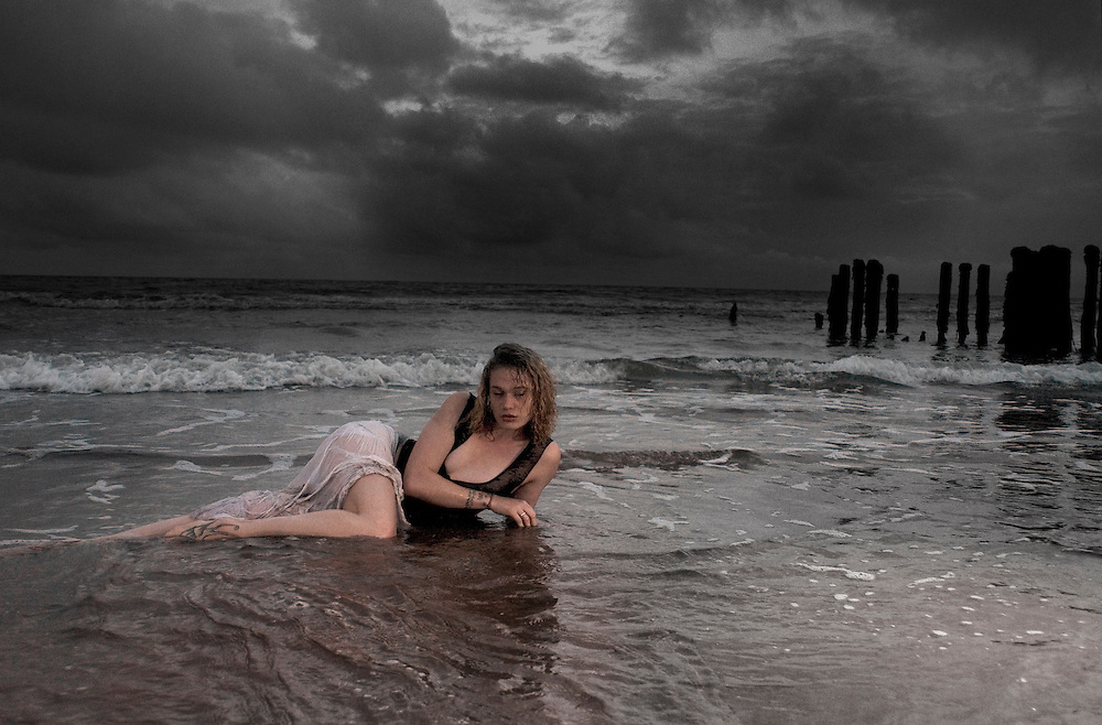 Corinna in the sea at sunset.