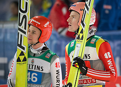 06.01.2015, Paul Ausserleitner Schanze, Bischofshofen, AUT, FIS Ski Sprung Weltcup, 63. Vierschanzentournee, Finale, im Bild Markus Eisenbichler (GER), Severin Freund (GER) // Markus Eisenbichler of Germany, Severin Freund of Germany reacts after his first Final Jump of 63rd Four Hills Tournament of FIS Ski Jumping World Cup at the Paul Ausserleitner Schanze, Bischofshofen, Austria on 2015/01/06. EXPA Pictures © 2015, PhotoCredit: EXPA/ Johann Groder