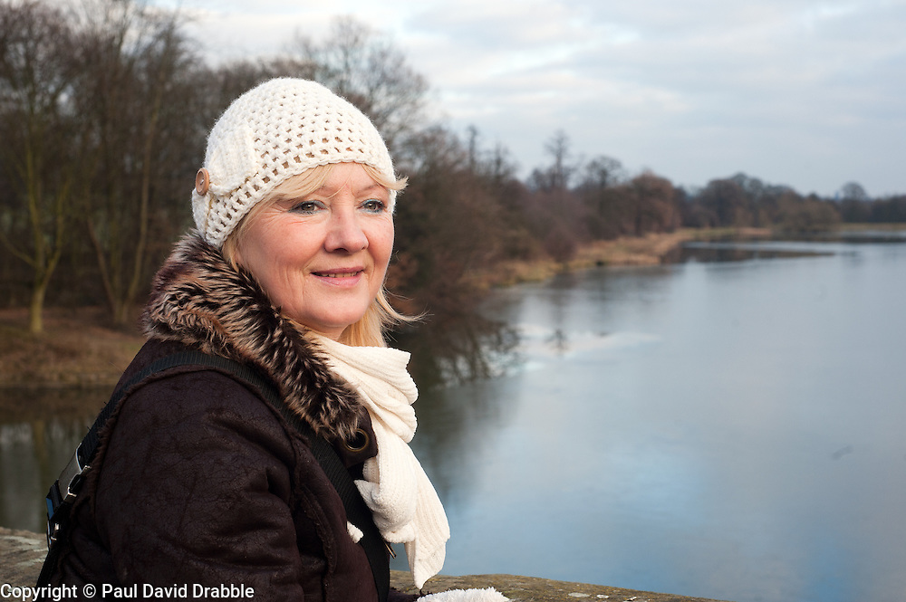 Aileen beside one of the frozen fishing ponds at Wentworth Woodhouse.29 January 2010.Images © Paul David Drabble