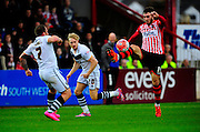 Exeter City's Jordan Moore-Taylor controls a high ball during the The FA Cup match between Exeter City and Port Vale at St James' Park, Exeter, England on 6 December 2015. Photo by Graham Hunt.