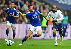 Joe Ralls of Cardiff City with no eyes on the ball takes out Lucas of Tottenham Hotspur and is sent off. - Mandatory by-line: Alex James/JMP - 06/10/2018 - FOOTBALL - Wembley Stadium - London, England - Tottenham Hotspur v Cardiff City - Premier League