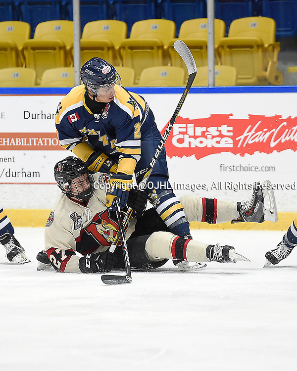 WHITBY, ON - Oct 9, 2015 : Ontario Junior Hockey League game action between Newmarket and Whitby, Davis Kuksis #27 of the Whitby Fury makes the hit on Jeff Schrattner #27 of the Newmarket Hurricanes during the first period.<br /> (Photo by Andy Corneau / OJHL Images)