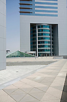 Dubai, UAE, Architectural detail of Emirates Towers plaza on Sheikh Zayed Road