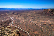 Utah State Highway 261 leading toward Monument Valley, as seen from atop the escarpment at Moki Dugway.