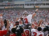 CAPTION: (Tampa: 10/22/06) (photo 4) Matt Bryant (3) is hoisted onto his teammates shoulders above the crowd following his game-winning 62-yard field goal at the end of the fourth quarter during the Tampa Bay Buccaneers vs. Philadelphia Eagles Sunday (10/22/06) at Raymond James Stadium in Tampa.  BRENDAN FITTERER | Times SUMMARY: Tampa Bay Buccaneers vs. Philadelphia Eagles Sunday (10/22/06) at Raymond James Stadium in Tampa