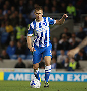 Brighton defender Uwe Huenemeier brings the ball out from defence during the Sky Bet Championship match between Brighton and Hove Albion and Rotherham United at the American Express Community Stadium, Brighton and Hove, England on 15 September 2015. Photo by Bennett Dean.