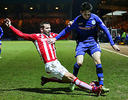 Stoke City's Phil Bardsley tackles Rochdale's Scott Tanser  - Photo mandatory by-line: Matt McNulty/JMP - Mobile: 07966 386802 - 26/01/2015 - SPORT - Football - Rochdale - Spotland Stadium - Rochdale v Stoke City - FA Cup Fourth Round