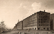 Liverpool Docks, England. Goree Buildings, George's Dock, Liverpool,  pedestrian arcade with five levels of warehousing above. The buildings shown here are those constructed after the fire of 1802.  Illustration by William Westall (1781-1850) for 'Great Britain Illustrated' by Thomas Moule (London, 1830).