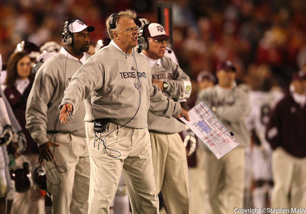 25 OCTOBER 2008: Texas A&M head coach Mike Sherman yells on the field in the second half of an NCAA college football game between Iowa State and Texas A&M, at Jack Trice Stadium in Ames, Iowa on Saturday Oct. 25, 2008. Texas A&M beat Iowa State 49-35.