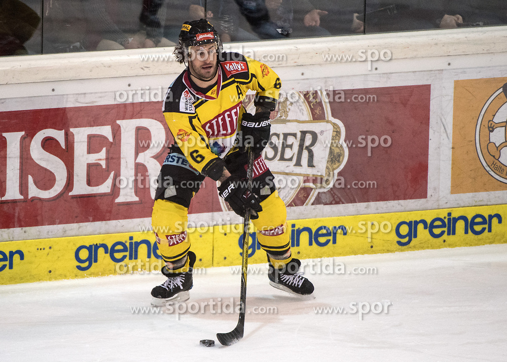 11.02.2018, Keine Sorgen Eisarena, Linz, AUT, EBEL, EHC Liwest Black Wings Linz vs Vienna Capitals, Platzierungsrunde, im Bild Rafael Rotter (Vienna Capitals) // during the Erste Bank Icehockey League placement round between EHC Liwest Black Wings Linz and Vienna Capitals at the Keine Sorgen Icearena, Linz, Austria on 2018/02/11. © 2018, PhotoCredit: EXPA/ Reinhard Eisenbauer