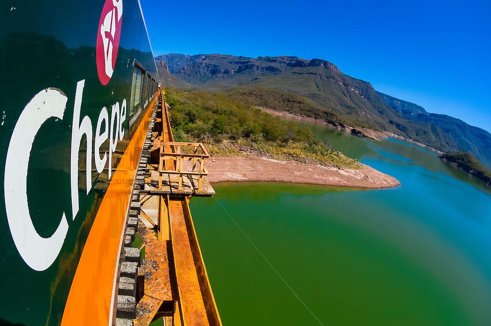 A Chihuahua al Pacifico Railroad train (Chepe) crossing the Chinipas Bridge over the Chinipas River en route from El Fuerte to Copper Canyon, Mexico
