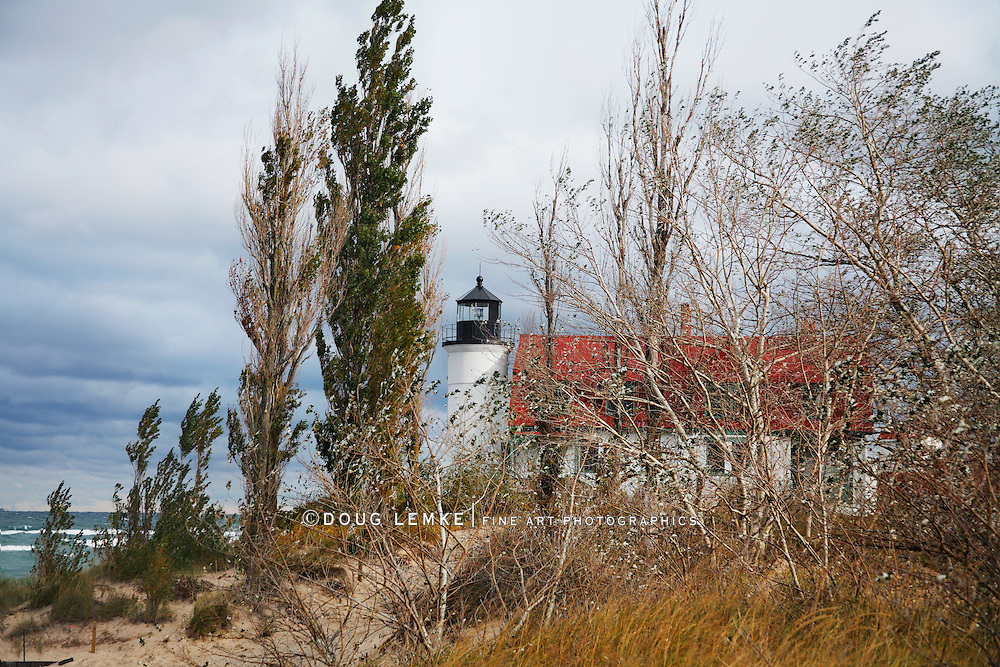 The Historic Point Betsie Lighthouse On An Overcast Lake Michigan Morning, Michigan's Lower Peninsula, USA